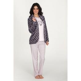 Conjunto corta bata y Pijama de invierno mujer EGATEX Cuore