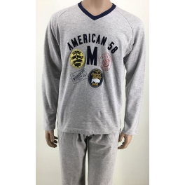 Pijama de invierno hombre SOY Felpa Cuello Pico