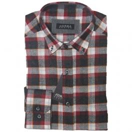 Camisa franela hombre JORSA cuadros rojo y marrón