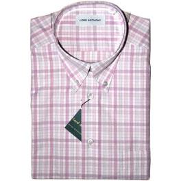 Camisa popelín manga corta hombre LORD ANTHONY cuadros rosa
