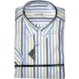 Camisa popelín manga corta hombre LORD ANTHONY rayas azul