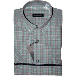 Camisa popelín manga corta hombre LORD ANTHONY cuadros verde