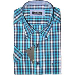 Camisa popelín manga corta hombre JORSA cuadros turquesa