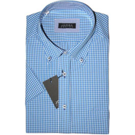Camisa popelín manga corta hombre JORSA cuadros azul