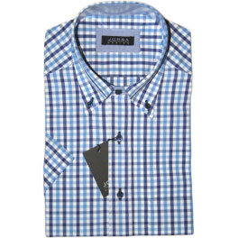 Camisa popelín manga corta hombre JORSA cuadros azules