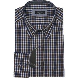 Camisa popelín hombre JORSA cuadros azul y marrón
