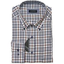 Camisa viella hombre JORSA cuadros marrón y gris
