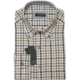 Camisa viella hombre JORSA cuadros ocre y gris