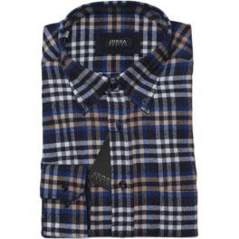 Camisa franela hombre JORSA cuadros azul y gris