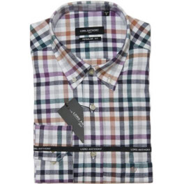 Camisa franela hombre LORD ANTHONY cuadros gris y ocre