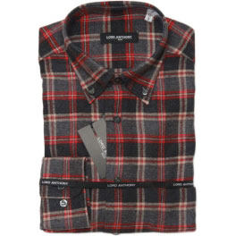 Camisa franela hombre LORD ANTHONY cuadros roja y gris oscuro
